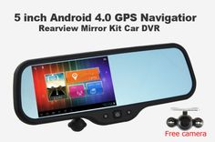 Replace your rear view mirror with this Android version that includes a 5-inch LCD display - The 5-inch capacitive touchscreen display has a resolution of 800 x 480, and it has a 1,2 GHz single-core CPU, 512MB of RAM, 8GB of internal storage, microSD slot for up to an additional 64GB of storage, FM transmitter, a camera that records video at 720p, and a 650mAh battery. | TalkAndroid