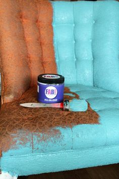 FAB Fabric Paint 5 Chalk Paint Fabric, Painting Fabric Chairs, Chalk Paint Furniture, Chair Fabric, Furniture Repair, Furniture Makeover, Diy Furniture, Paint Upholstery, Furniture Painting Techniques