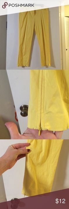 Bright yellow zip sided anklets! Pen mark ((not noticeable)) as seen in picture! Price reflected on that! New York & Company Pants Ankle & Cropped