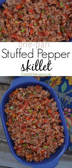 Quick and easy stuffed pepper skillet with just a few ingredients and seasonings. A one pot wonder perfect for weeknight meals!