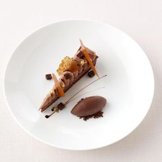Chocolate jasmine cremeux , Guanaja sorbet #pastrylove #chef #dessert #chocolate #chocolatecake #chef #restaurant #hotel #pastry #chocolatemousse #icecream #food