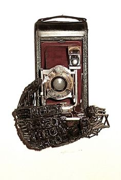 Robert Toll - Red Camera - 14H x 9W x 6D - Found Metal Sculpture