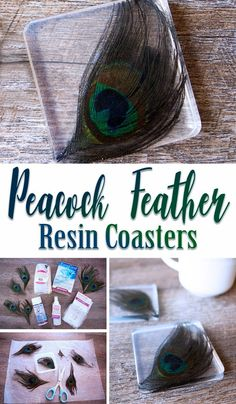 Make these easy Peacock Feather Coasters with EasyCast Clear Casting Epoxy. #resinproject #peacock #coasters via @resincraftsblog