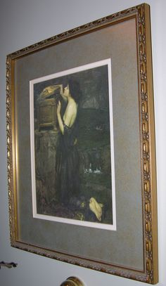 'Pandora' by John William Waterhouse hangs in the master bath and honors our late cat by that name who adopted Roger after meeting him in a paint store.