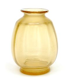 Gold-yellow Sonoor cracqle vase design A.D.Copier 1950 executed by Glasfabriek Leerdam / the Netherlands