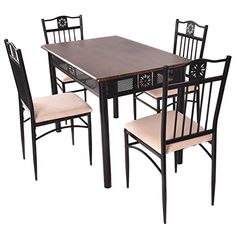 Tangkula 5 Piece Wood Top Metal Dining Table and chairs set Kitchen Breakfast Furniture *** Visit the image link more details. Note:It is affiliate link to Amazon.
