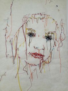 Ma fille brodée Collages, Textiles, Thread Art, Sewing Art, Portrait Inspiration, Conceptual Art, Embroidery Art, Fabric Art, Textile Art