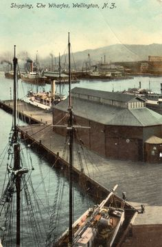 Shipping, The Wharfes, Wellington, N. Postcard by Tanner Bros. Publishers Wellington, N. ~ Printed in Saxony. Postcards, Ship, Printed, Artist, Photos, Pictures, Artists, Ships, Prints