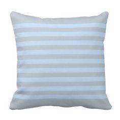 Modern light blue gray stripes throw pillow