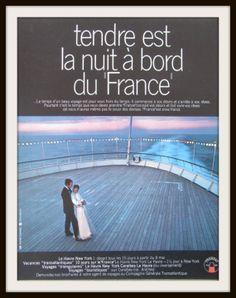 Paquebot Le France  60s  Publicité vintage par SomeVintagePapers, €6.00