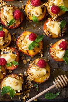 Bite into this perfectly grilled sweet summer peach, covered with a spoonful of a luscious and creamy vanilla bean mascarpone, and then perfectly complimented with a drizzling of sweet honey and sprinkled with a crisp and crunchy honey granola.