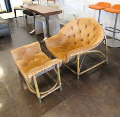 Vintage suede and bamboo lounge chair and ottoman