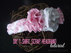 DIY T-Shirt Scrap Headband--Super cute flowers Headband Tutorial, Diy Headband, Baby Girl Headbands, Felt Hair Accessories, Diy Accessories, Diy Dog Gate, Diy Cutting Board, Easy Diy Crafts, Homemade Crafts