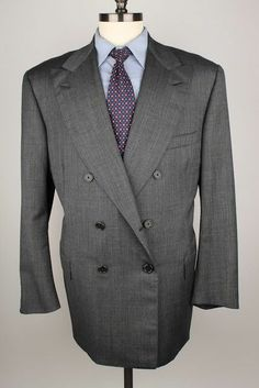 $2895+ Oxxford Clothes Grey Double Breasted Super 120s Wool 46 R mens Sport Coat