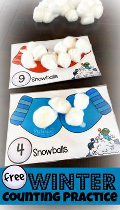 FREE Winter Counting Practice - Young learners will have fun practicing counting to 10 with this FREE printable, hands on winter Counting Practice using cotton ball snowballs. Source by winter Counting For Kids, Winter Activities For Kids, Educational Activities For Kids, Counting Activities, Classroom Activities, Toddler Preschool, Preschool Activities, Preschool Learning, Kindergarten Math