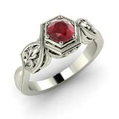 Rings - Paloma - Ruby Ring in 14k White Gold (0.57 ct.tw.)
