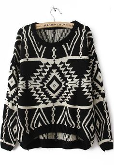 Black Long Sleeve Geometric Pullovers Sweater