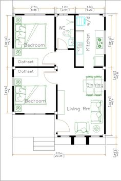 White House Floor Plan 6x8 Meter 20x27 Feet - Pro Home DecorS One Level House Plans, 2bhk House Plan, Small House Floor Plans, Simple House Plans, Best House Plans, Story House, The Plan, How To Plan, One Storey House
