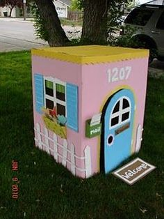 Play house from cardboard box!!! I hope I'm a creative enough mom to do this for my kids someday.