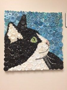 Arts And Crafts Kitchen Button Art Projects, Button Crafts, Craft Projects, Diy Buttons, Vintage Buttons, Cat Crafts, Arts And Crafts, Vintage Jewelry Crafts, Mosaic Artwork