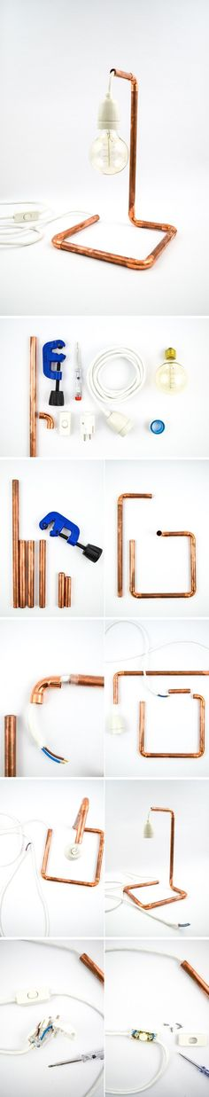Industrial+Chic+DIY+Copper+Pipe+Table+Lamp