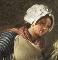"1783.  Detail of ""A kitchen maid"" by Hugues Taraval.  White cap with lappets pinned or tied up.  Red fichu with stripes. Ivory pinner apron."