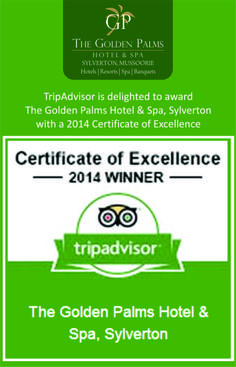We take immense pride in announcing that The Golden Palms Hotel & Spa, Sylverton has won a 2014 Certificate of Excellence. This prestigious award recognizes businesses that consistently earn top ratings from TripAdvisor travelers.