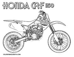 I's Bday Dirt Bike Party Coloring Sheet- Honda CRF150 dirt bike coloring page for kids