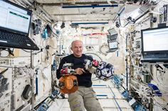 Astronaut Jeff Williams inside space station's Kibo Laboratory with floating SPHERES satellites;  Jeff has passed Astronaut Scott Kelly for the most cumulative days living and working in space by a NASA astronaut (520 days and counting).  Jeff returns to Earth on the Sept. 6 trip home.  Article
