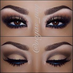 Dark brown smoke eye exaggerating the upper crease - perfect for all colour eyes...x
