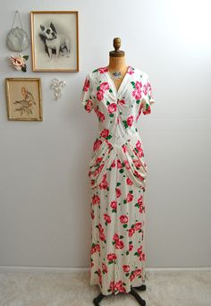 Vintage 1940s Rayon Dress  40s Floral Gown  The by BohemianBisoux, $224.00