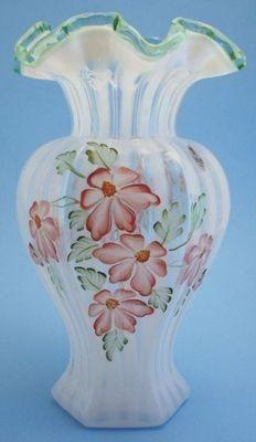 Hand Painted Fenton Glass Vase | FENTON ART GLASS ~ Hand Painted Opalescent Meadow Beauty Hexagon Vase ...