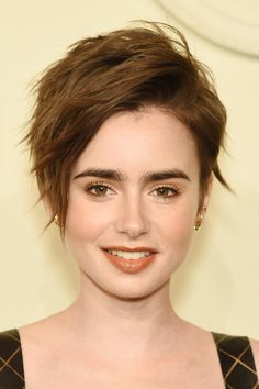 Lily Collins Messy Cut - Short Hairstyles Lookbook - StyleBistro