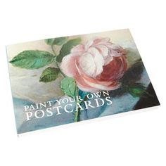 £5.00 - Paint Your Own Postcards (Nattier's Rose Cover). This ingenious postcard sketchbook will let you paint your very own postcards. Made from thick watercolour paper, these 20 blank postcards are printed on the reverse with address lines and stamp square. #postcard