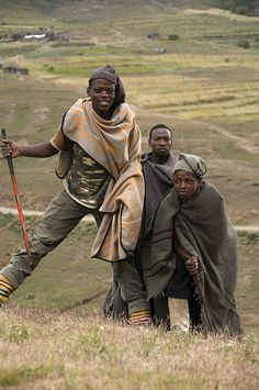 Basotho shepherds. For the record, there is no such thing as a Lesothan. A single person from Lesotho is Mosotho. Two or more of them are Basotho. They all speak Sesotho (or Sotho). They live in Lesotho.  (Lesotho, Southern Africa)