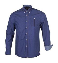 LS72605 - NAVY - Long Sleeve Mini-Dot Shirt   Guide London