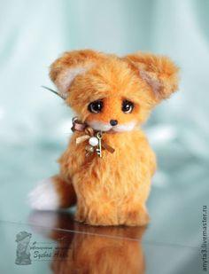 Лисенок (10см) - вязанная игрушка - рыжий,оранжевый,лисенок,лис,вязанный лисенок