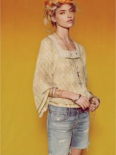 Free People FP New Romantics Dot To Dot Blouse at Free People Clothing Boutique