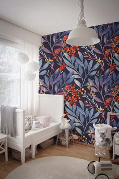 Blue Tropical Mural - Wall Decor - Peel And Stick - Reusable - Sefl Adhesive - Wall Mural - Traditional - Repositionable - Decal # 193 - - Home Design, Wall Design, Home Interior, Interior Design, Washable Paint, Wall Decor, Room Decor, Vinyl Wallpaper, Adhesive Wallpaper