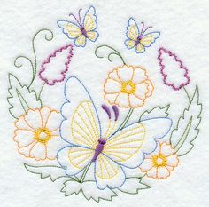 Vintage Embroidery Patterns Machine Embroidery Designs at Embroidery Library! Butterfly Embroidery, Paper Embroidery, Learn Embroidery, Hand Embroidery Stitches, Free Machine Embroidery Designs, Vintage Embroidery, Embroidery Techniques, Embroidery Applique, Cross Stitch Embroidery