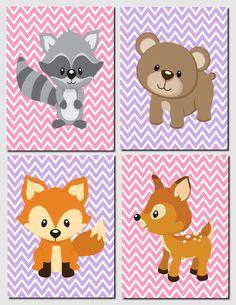 Nursery Art, Kids Wall Art, Woodland Nursery Art Prints, Baby Boy, Baby Girl, Fox, Racoon, Deer, Bear, Many Colors, Set of 4, 8x10 Prints