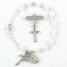 "Baby Bracelet & Crucifix Pin Set. Baby Bracelets are 5 1/2"" long. All Crucifixes & Medals are Rhodium Plated or Gold Plated Boxed Girls Childrens. Perfect for Christening, Baptism, Baby Shower, or New Mother Gift! 5 1/2""round Pearl Bracelet Rhodium Crucifix & Miraculous Medal St. Mary Pin."