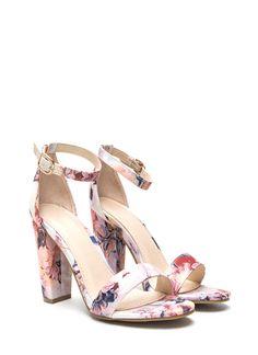 Fine Florals Strappy Chunky Heels BLUSHMULTI