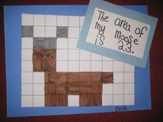 """Animal Area: """"I gave them a piece of one inch grid paper. They had to use the squares to create one of the animals we have been studying.  After a practice sheet, they had to recreate it with markers on a new piece.  When finished, they had to document the area of their animal."""" Math Classroom, Kindergarten Math, Elementary Math, Teaching Math, Future Classroom, Teaching Ideas, Preschool, Fun Math, Math Activities"""
