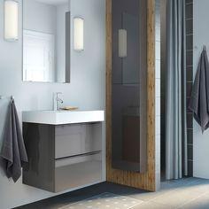 Mobile per lavabo GODMORGON/BRÅVIKEN grigio lucido con due cassetti e miscelatore DALSKÄR