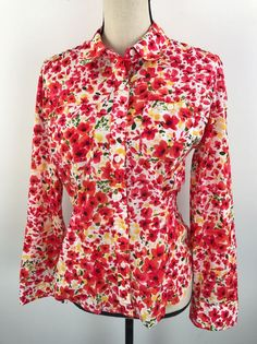 Jones New York Sport Women's Size Small Shirt Multi-Color Floral Button Down  | eBay