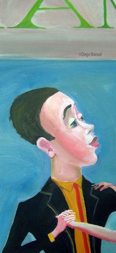 milonguero, pinturas de Diego Manuel. Sale of a painting of the Argentine Tango. Venta de una pintura sobre el tango Argentino.