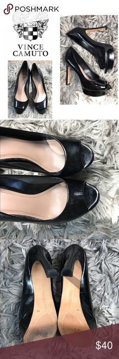 "Like New Vince Camuto Black Peep Toe Pumps Super cute shoes only worn a few times! In great condition, bottoms have minimal wear but that's it! Platform is 1"" and heel height is 5"". Normally sells at Nordstrom for $119! Vince Camuto Shoes"