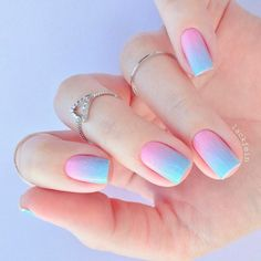 Pastel pink and Blue Nail Ombre Designs ★ Wonderful Ombre Nail Designs for Your Inspiration ★ See more: naildesignsjourna. Nail Art Designs, Ombre Nail Designs, Blue Ombre Nails, Pink Nails, Summer Acrylic Nails, Best Acrylic Nails, Unicorn Nails Designs, Nagellack Design, Nagel Gel
