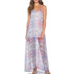 ERLYN MAXI DRESS by Show Me Your Mumu Sheer maxi dress with a built in slip. In Mumu's Great Barrier Reef print.  Never been worn! Show Me Your MuMu Dresses Maxi
